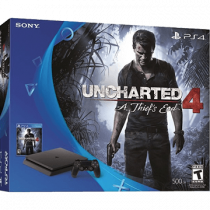 PS4 Slim + Uncharted 4: A Thief's End + Dualshock 4 Controller: Magma Red for just $349.87
